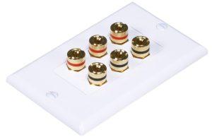 Banana Binding Post Wall Plate for 3 Speaker - Coupler Type-0