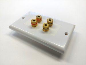 Banana Binding Post Wall Plate for 2 Speaker - Coupler Type-0