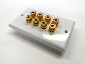 Banana Binding Post Wall Plate for 4 Speaker - Coupler Type-0