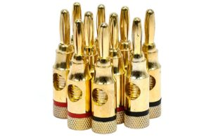 Five Pairs of High-Quality Copper Speaker Banana Plugs - Open Screw Type
